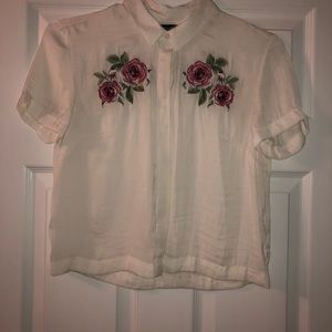 rose embellished collared button up blouse